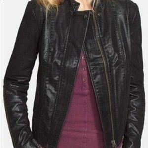 Free People Moro Lace Detail Faux Leather Jacket